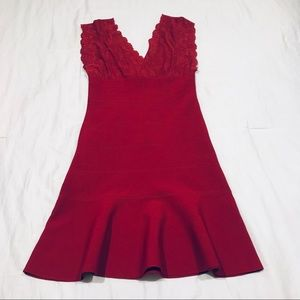 Guess red mini red dress lace upper lined size S